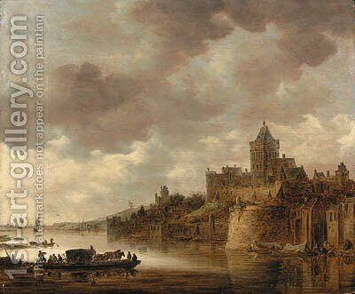 The Valkhof at Nijmegen with a coach and horses on a ferry on the River Waal by Jan van Goyen - Reproduction Oil Painting