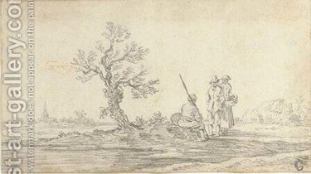 Three peasants resting on a path by Jan van Goyen - Reproduction Oil Painting