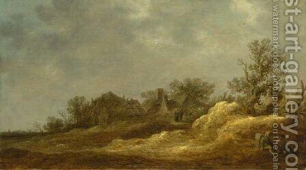 Travellers resting on a track, a village in the distance by Jan van Goyen - Reproduction Oil Painting