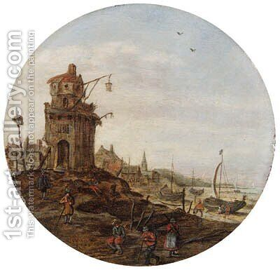 Villagers skating on a frozen waterwaybefore a church by Jan van Goyen - Reproduction Oil Painting