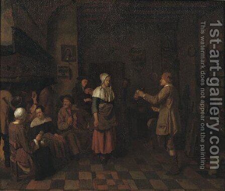 Peasants making music and dancing in an interior by Jan Josef, the Elder Horemans - Reproduction Oil Painting