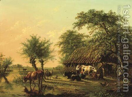 An extensive landscape with cattle near a barn by Jan Kobell - Reproduction Oil Painting