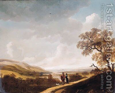 An elegant couple standing above a valley by Jan Looten - Reproduction Oil Painting