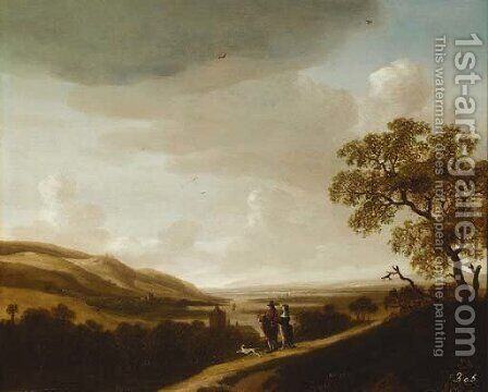An extensive river landscape with an elegant couple halted on a track by Jan Looten - Reproduction Oil Painting