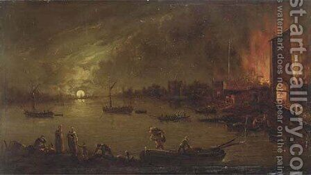 A moonlit riverside town on fire by Jan Ludewick de Wouters - Reproduction Oil Painting