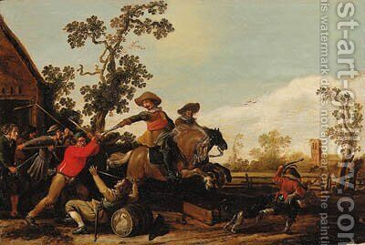 Cavalrymen raiding the Swan Inn by Jacob Martsen de Jonge - Reproduction Oil Painting