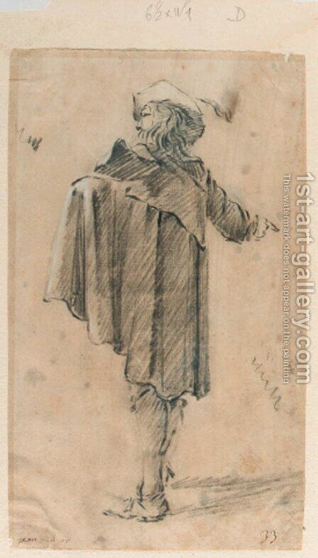 A man in a cape wearing a hat, seen from the side by Jan Miel - Reproduction Oil Painting