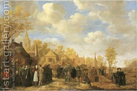 A village landscape with crowds gathering around quack doctors by Jan Miense Molenaer - Reproduction Oil Painting
