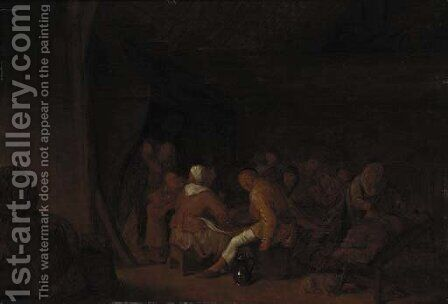 Boors carousing in an inn by Jan Miense Molenaer - Reproduction Oil Painting