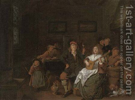 Boors merry making in an inn by Jan Miense Molenaer - Reproduction Oil Painting