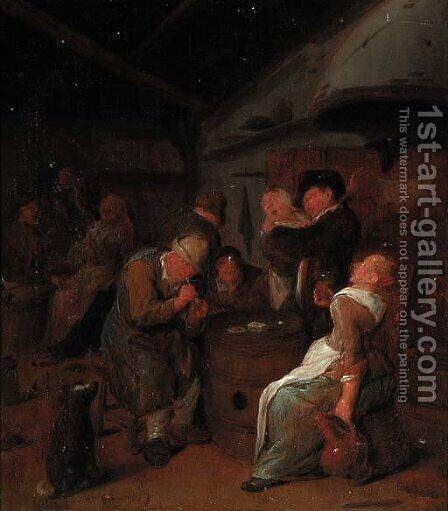 Peasants carousing in a tavern by Jan Miense Molenaer - Reproduction Oil Painting