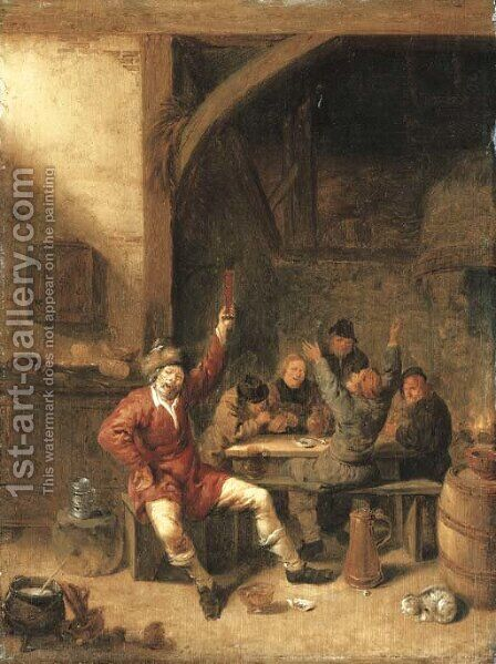 Peasants drinking, smoking and merrymaking in a tavern by Jan Miense Molenaer - Reproduction Oil Painting