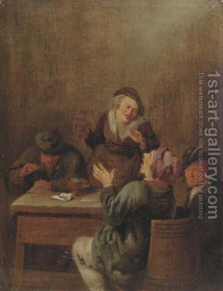 Peasants smoking and drinking by a table by Jan Miense Molenaer - Reproduction Oil Painting