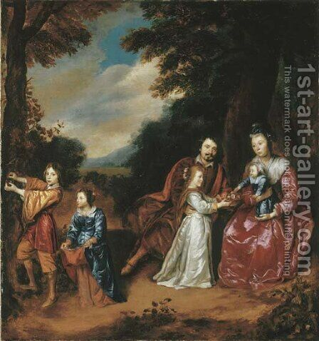A group portrait of a family in a landscape by Jan Mijtens - Reproduction Oil Painting