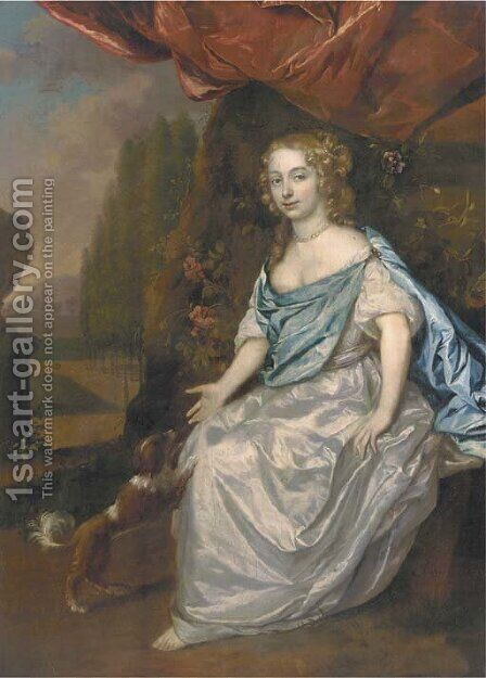 Portrait of a lady, full-length, in a white satin dress and blue wrap, seated in a garden with a spaniel nearby by Jan Mijtens - Reproduction Oil Painting