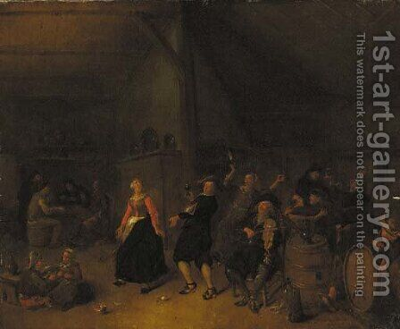 Peasants dancing in an inn by Jan Miense Molenaer - Reproduction Oil Painting