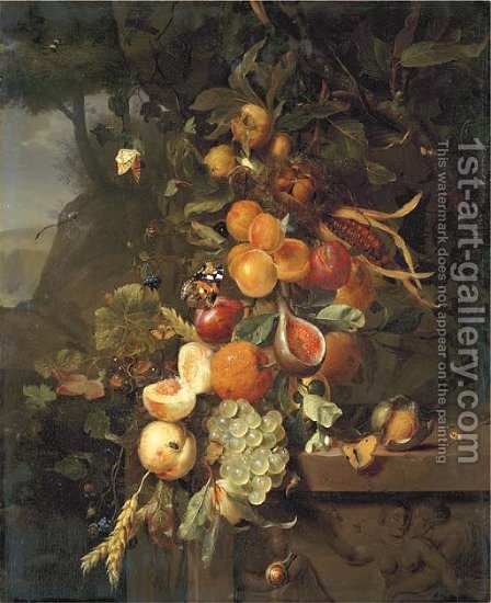 Peaches, apricots, grapes, oranges, blackberries, sheafs of corn and a pomegranate on a plinth with a sculpted relief, with butterflies by Jan Mortel - Reproduction Oil Painting
