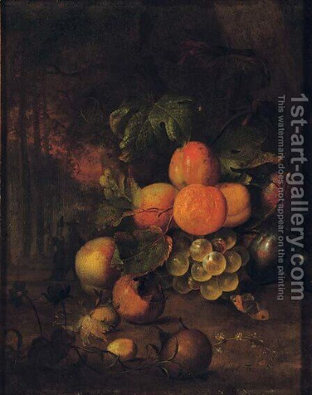 Peaches, plums, grapes, medlars and nuts in a wooded clearing with a butterfly by Jan Mortel - Reproduction Oil Painting