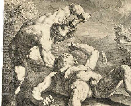 Cain killing Abel, after C. van Haarlem by Jan Muller - Reproduction Oil Painting
