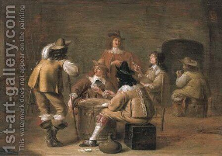 Militiamen smoking and playing cards in an interior by Jan Olis - Reproduction Oil Painting