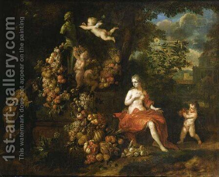 Vertumnus and Pomona, putti decorating a statue of Pan with a swag of fruit, in a landscape by Jan Pauwel II the Younger Gillemans - Reproduction Oil Painting