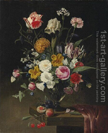 Roses, tulips, carnations and an iris in a glass vase on a draped stone ledge by Jan Philip van Thielen - Reproduction Oil Painting