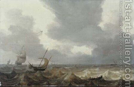 A fishing boat and a rowing boat in choppy waters, a Dutch three-master in the distance by Jan Porcellis - Reproduction Oil Painting