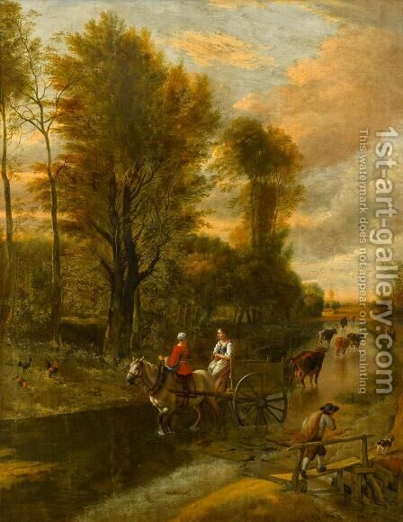 A horse-drawn cart with two women travelling down a flooded road at the edge of a wood by Jan Siberechts - Reproduction Oil Painting