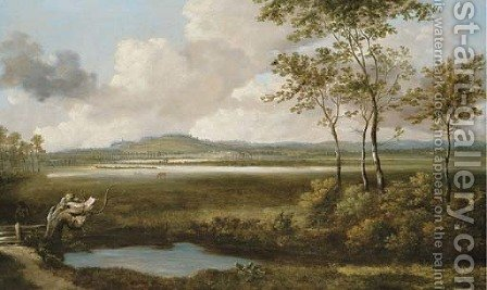 A view in the Thames Valley with a figure by a pond in the foreground by Jan Siberechts - Reproduction Oil Painting