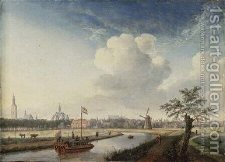 A cappricio view of The Hague, with figures walking along a river and a barge by Jan ten Compe - Reproduction Oil Painting