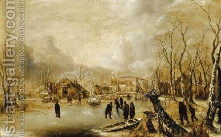 A winter landscape with skaters and kolf players on a frozen waterway by a village by Jan Van De Capelle - Reproduction Oil Painting