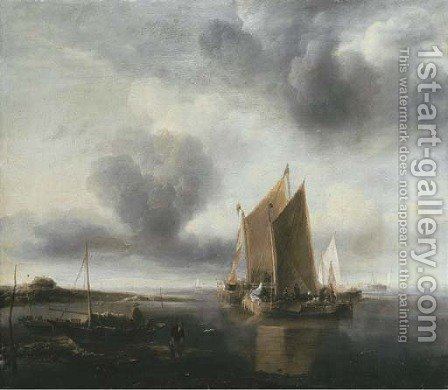 Two smalschips and other shipping off a sandbank in a calm by Jan Van De Capelle - Reproduction Oil Painting