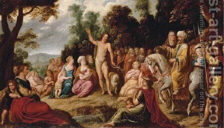 The Predication of the Baptist by Jan van den Hoecke - Reproduction Oil Painting