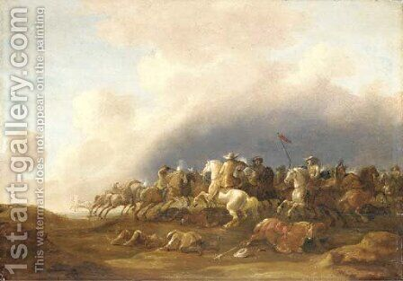 A cavalry skirmish by Jan Van Den Stoffe - Reproduction Oil Painting