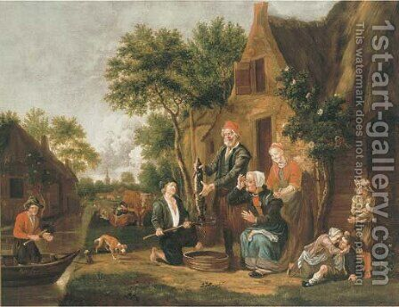 Fishermen selling their catch at a riverside cottage by Jan Van Der Bent - Reproduction Oil Painting
