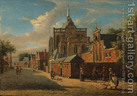 A view in Cologne, looking towards the Cathedral by Jan Van Der Heyden - Reproduction Oil Painting