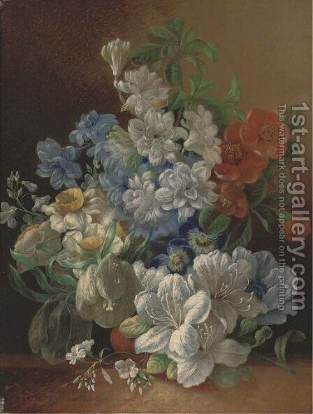 Narcissae, pansies, lillies and other summer blooms in a vase on a ledge by Jan Van Der Waarden - Reproduction Oil Painting