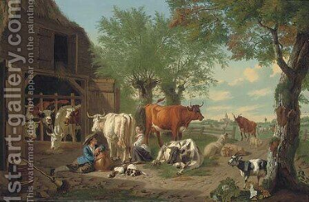 A farmyard with a milkmaid and a herdsman by Jan van Gool - Reproduction Oil Painting