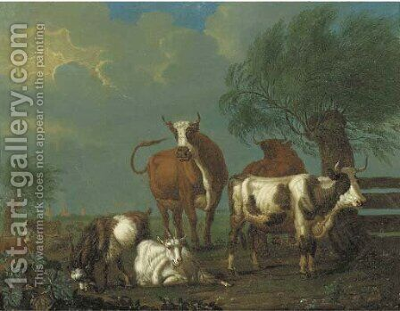 A pastoral landscape with cattle and goats by a fence by Jan van Gool - Reproduction Oil Painting