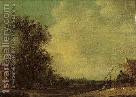 A wooded landscape with travellers outside an inn by Jan van Goyen - Reproduction Oil Painting