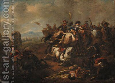 A cavalry battle between Christians and Turks by Jan von Huchtenburgh - Reproduction Oil Painting