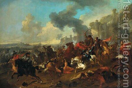 A cavalry engagement before a fortified town by Jan von Huchtenburgh - Reproduction Oil Painting