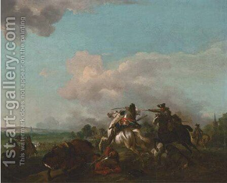 A cavalry skirmish by Jan von Huchtenburgh - Reproduction Oil Painting