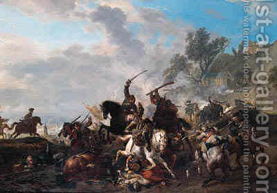A cavalry skirmish, a river beyond by Jan von Huchtenburgh - Reproduction Oil Painting