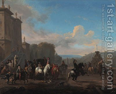 A hunting party by a fountain outside a mansion by Jan von Huchtenburgh - Reproduction Oil Painting