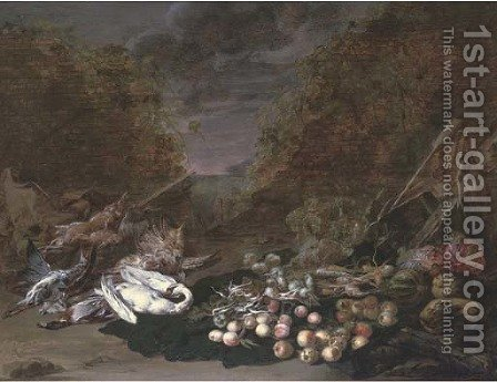 A swan, a mallard, a bittern, rabbits and fruits and vegetables, a landscape beyond by Jan van Kessel - Reproduction Oil Painting