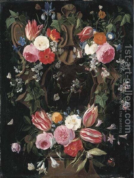 A garland of tulips, roses, morning glory, an iris, clematis and other flowers surrounding a sculpted stone cartouche with a red admiral by Jan van Kessel - Reproduction Oil Painting
