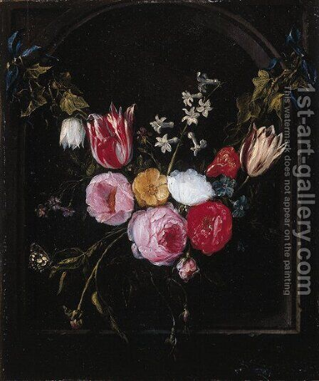 A swag of roses, tulips, an anemone and other flowers with a butterfly at a feigned stone niche by Jan van Kessel - Reproduction Oil Painting
