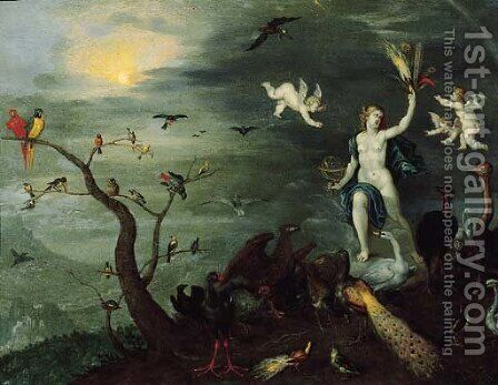 An allegory of Air by Jan van Kessel - Reproduction Oil Painting
