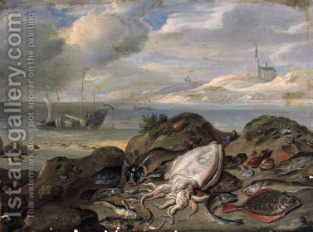 Cuttle-fish, plaice, cod, oysters, mussels and other fish on a dune, a river estuary with shipping beyond by Jan van Kessel - Reproduction Oil Painting